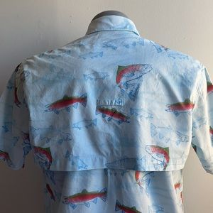 Fish Shirt Blue Short Sleeve Vented Cabela's Med
